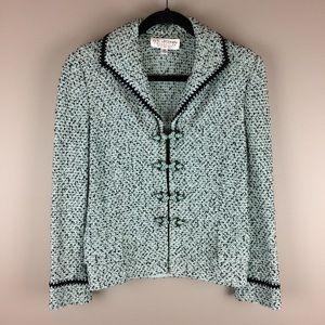 St. John Evening black and mint knit blazer